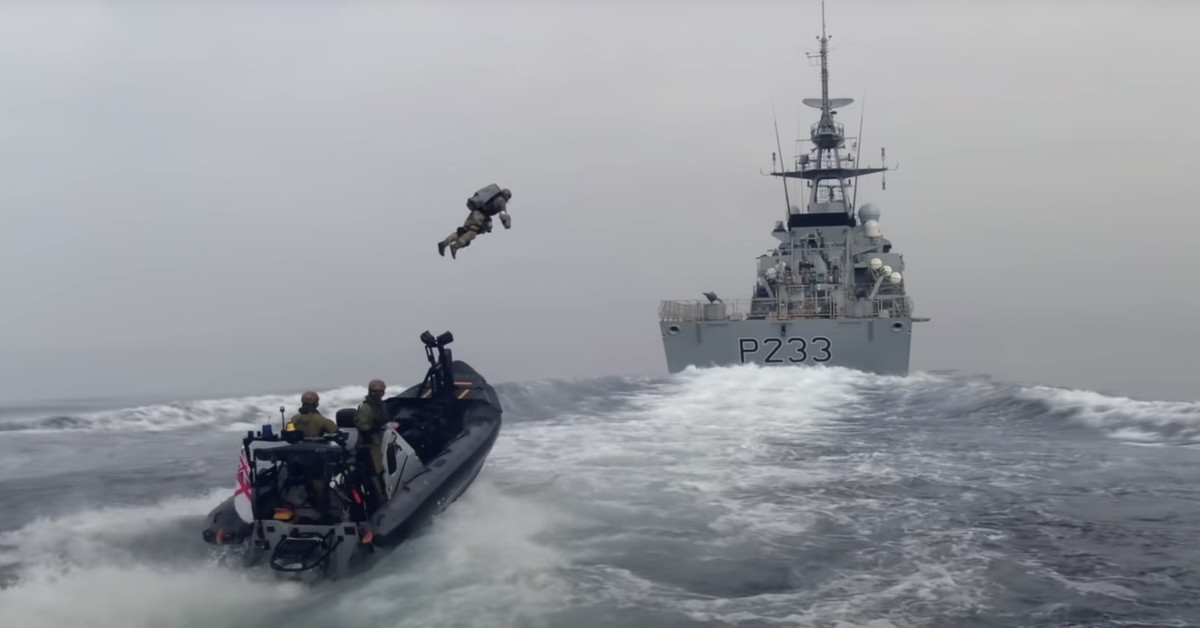 The Royal Navy is testing using jet suits to fight high-seas piracy