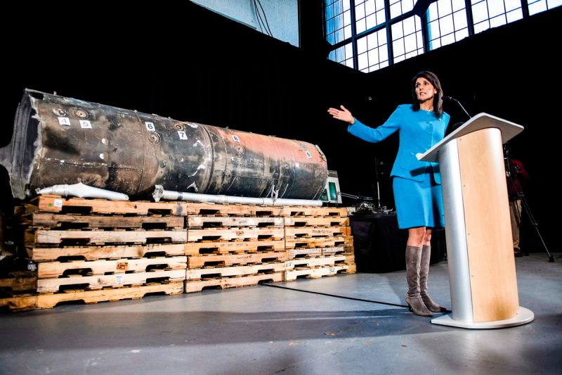 Haley stands in front of a missile on December 14, 2017, declaring it evidence of Iran's fueling of the Yemen war.