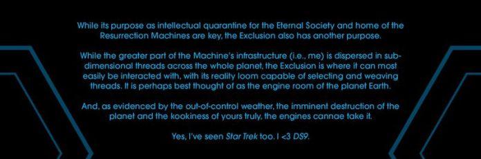 Une page de données d'Eternals #5 (2021) indique «C'est peut-être mieux considéré comme la salle des machines de la planète Terre. Et, comme en témoignent les conditions météorologiques incontrôlables, la destruction imminente de la planète et la folie de votre serviteur, les moteurs peuvent s'en charger. Oui, j'ai vu Star Trek aussi. Je <3 DS9.