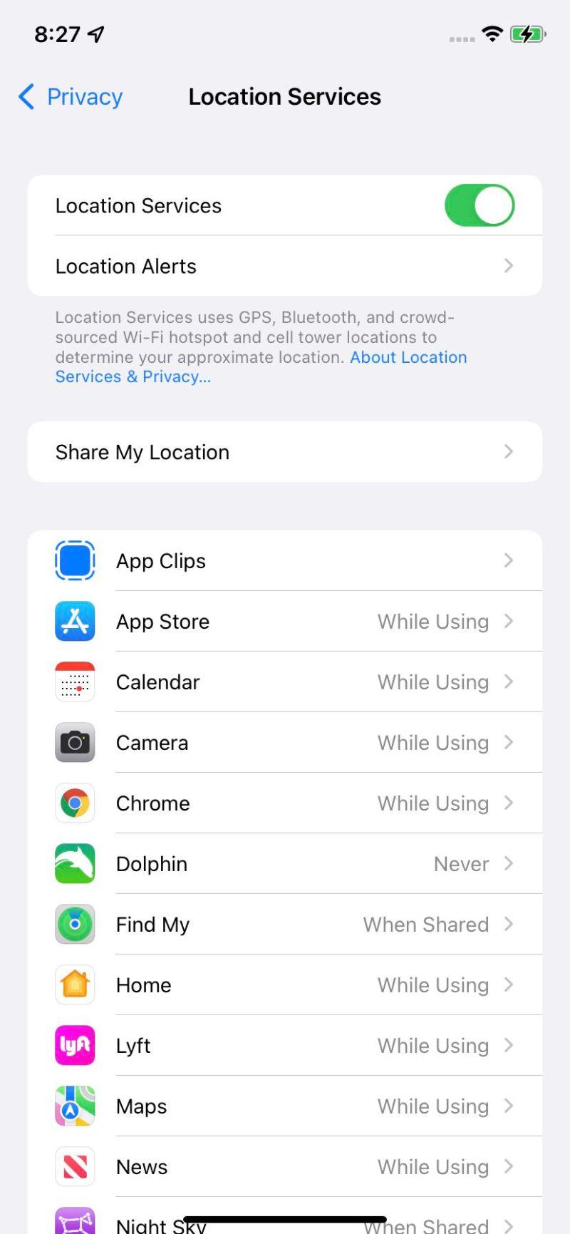Puoi regolare i servizi di localizzazione per app specifiche.