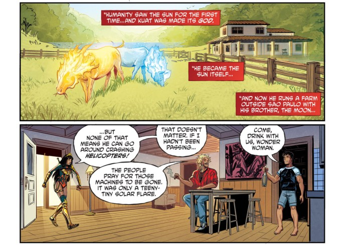 In full costume, Yara Flor stomps into the normal living room of two brothers, the traditional Brazilian gods of the sun and moon to admonish the sun brother for downing a helicopter earlier in the day, in Future State: Superman/Wonder Woman #1, DC Comics (2021).