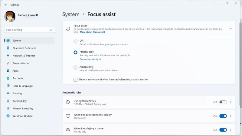 All'interno delle impostazioni di sistema, puoi decidere quando attivare l'assistenza Focus e per quali notifiche.