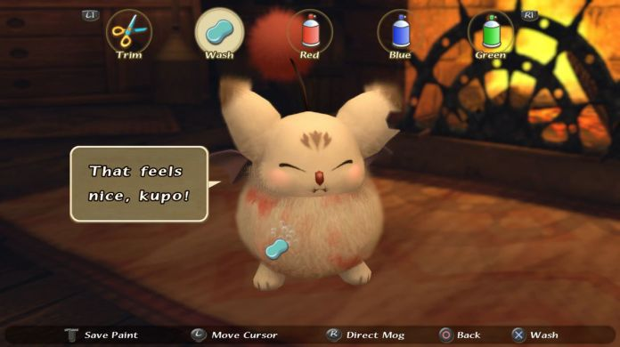 """A moogle receiving a new hairstyle note that it """"feels nice."""""""