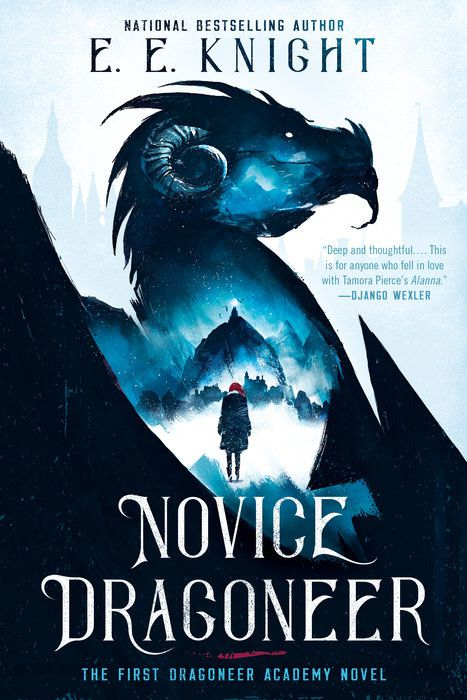 novice dragoneer cover with a girl standing in the outline of a dragon