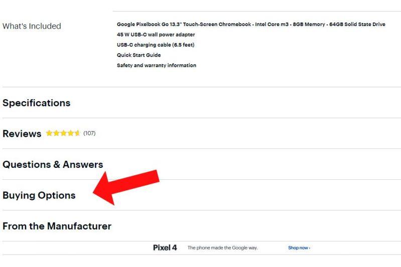 Elenco delle pagine Best Buy per Google Pixelbook Go