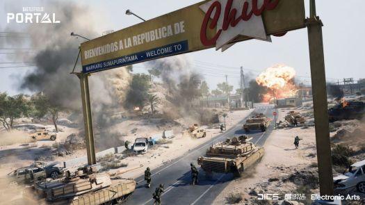 Soldiers follow behind tanks in Battlefield Portal