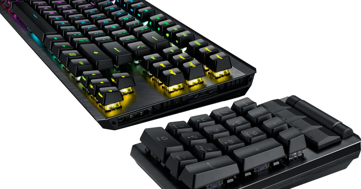Asus' ROG Claymore II mechanical keyboard has a handy detachable number pad