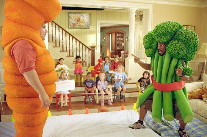 Eddie Murphy and Jeff Garlin wrestle in vegetable suits