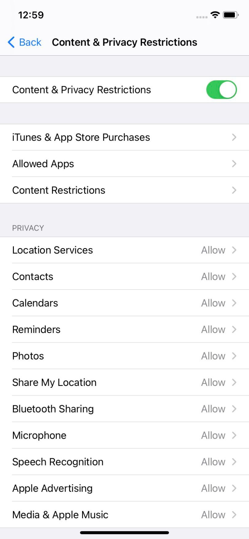 """""""Content & Privacy Restrictions"""" lets you place limitations on a number of apps"""