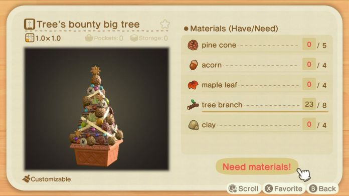 A recipe list for a Tree's Bounty Big Tree