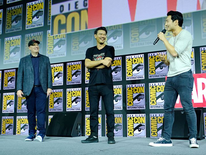 simu liu and director daniel cretton for shang-chi at sdcc 2019