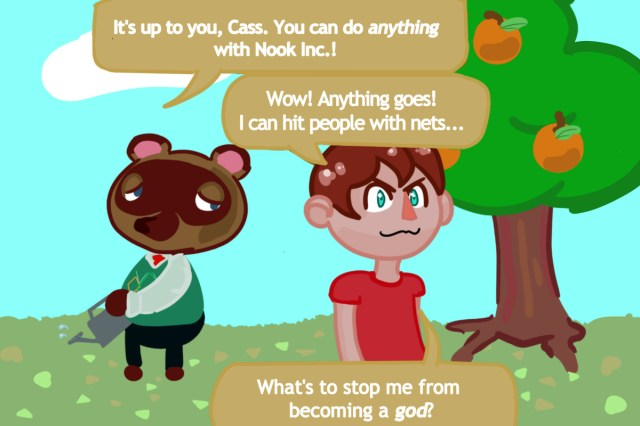 Illustration - a villager walks away from Tom Nook in a parody of a popular Chick Tract panel