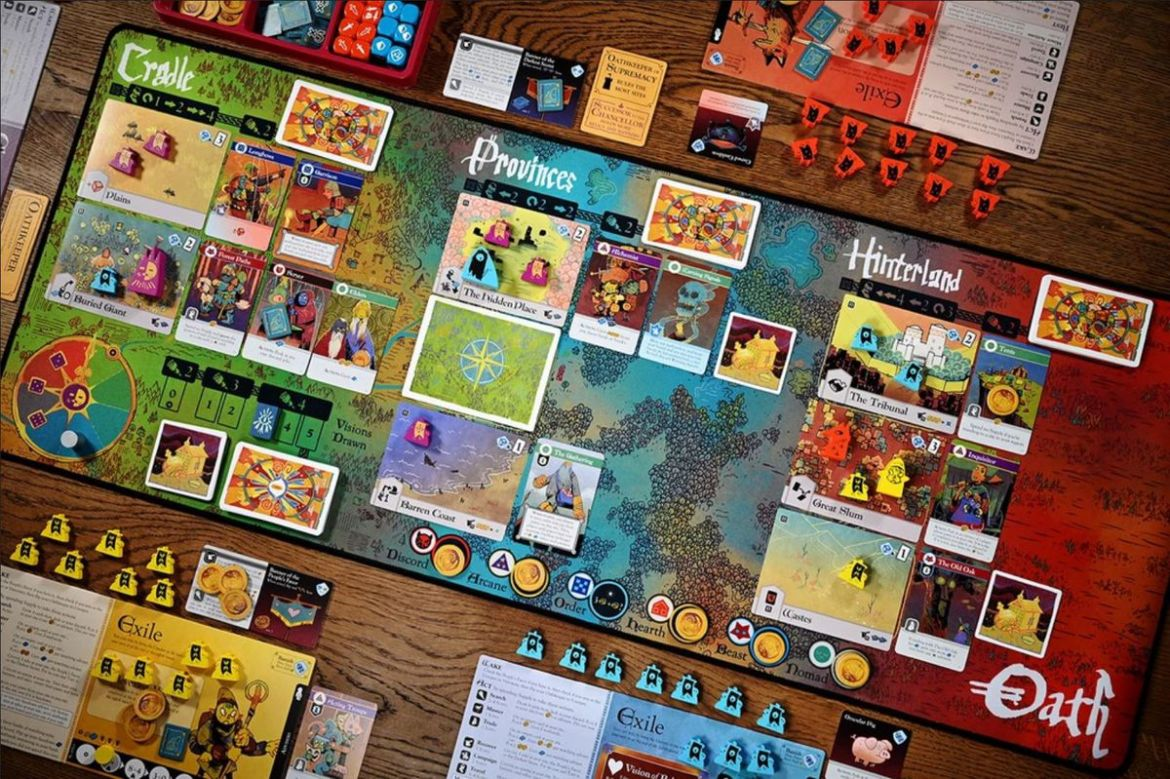 A game of Oath laid out for a first game.