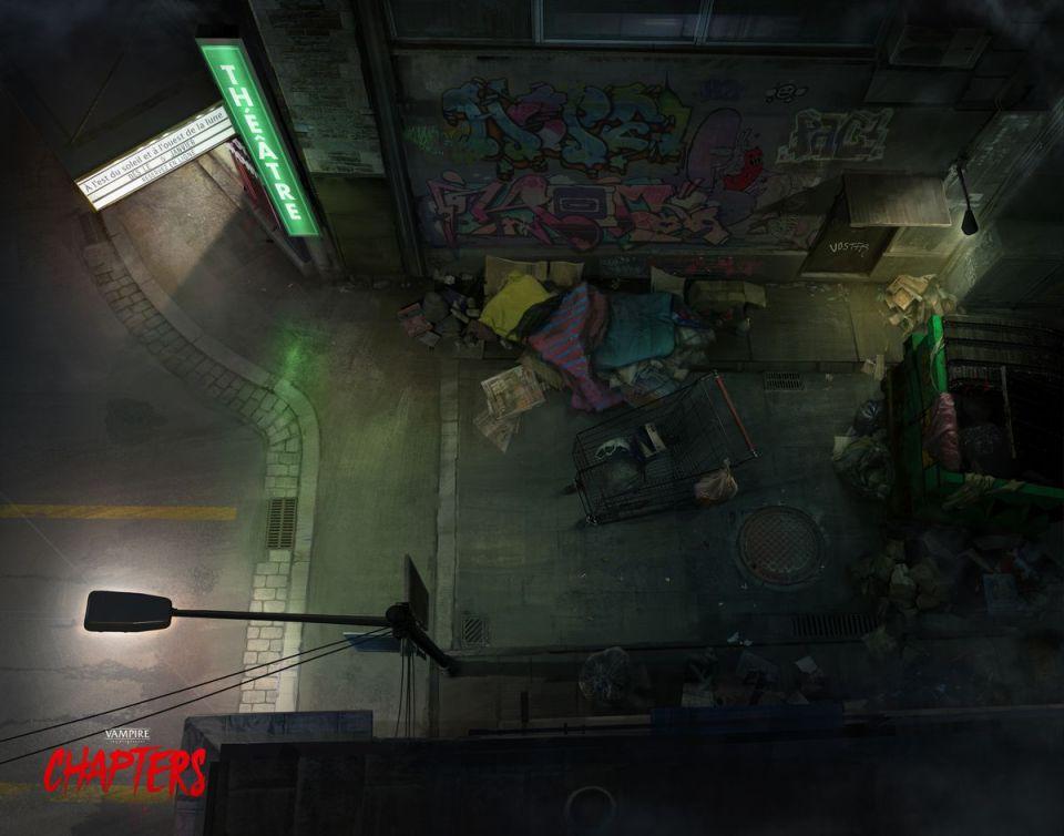 Une ruelle remplie de déchets.  Un panneau indique «Théâtre» et un réverbère lumineux joue sur une carte d'achats.