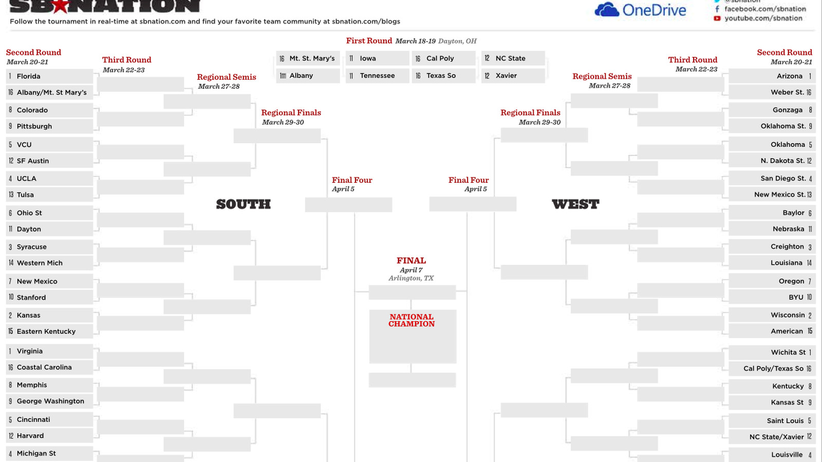 Printable Ncaa Bracket Fill Out Your Picks With Our