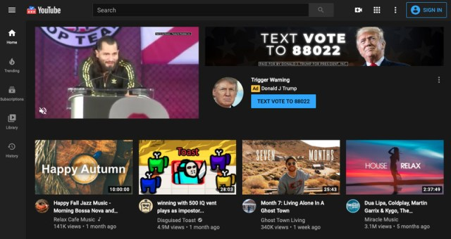 A screenshot of the YouTube homepage with a Trump ad.