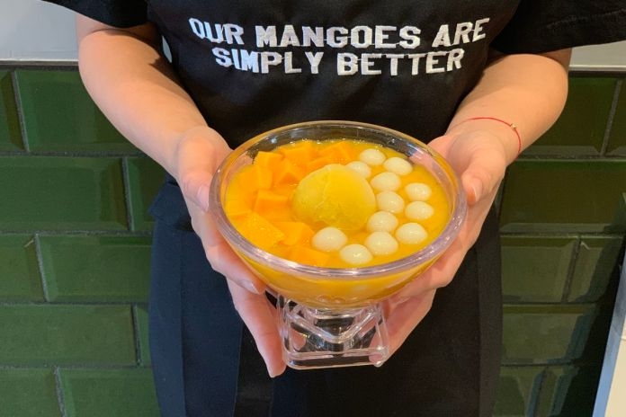 Person holds bowl of fresh pureed mango, mango ice cream, tapioca balls, and fresh mango.