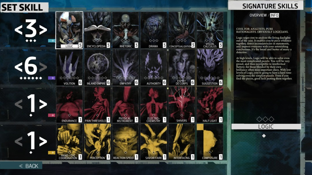 A screenshot of all the skills in Disco Elysium