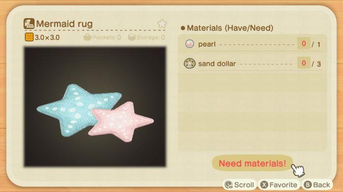 An Animal Crossing recipe for a Mermaid Rug