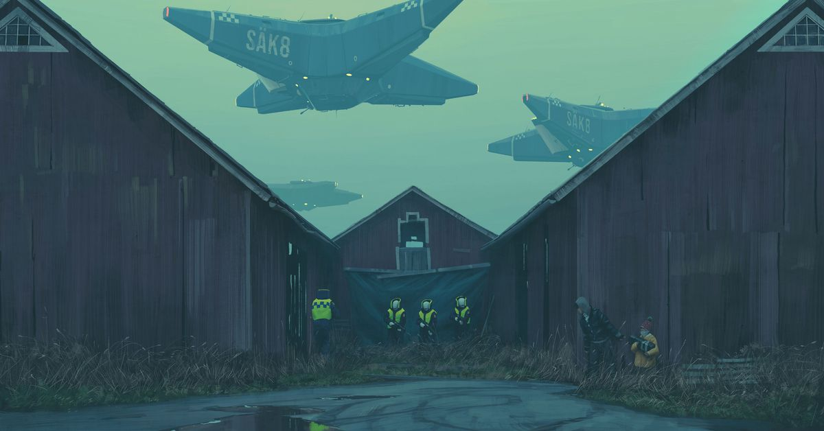 Simon Stålenhag puts a darker twist on his nostalgic sci-fi worlds