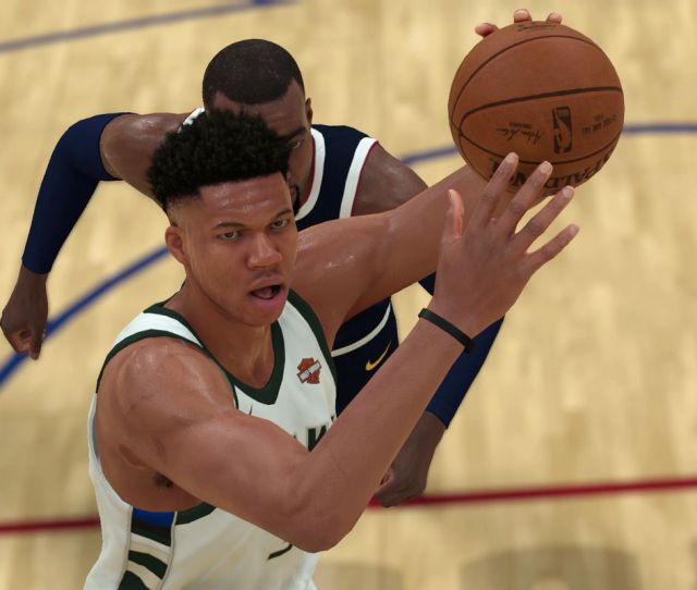Milwaukee Bucks Star Giannis Antetokounmpo Winds Up For A Dunk In Nba 2k19 Visual Concepts 2k Sports