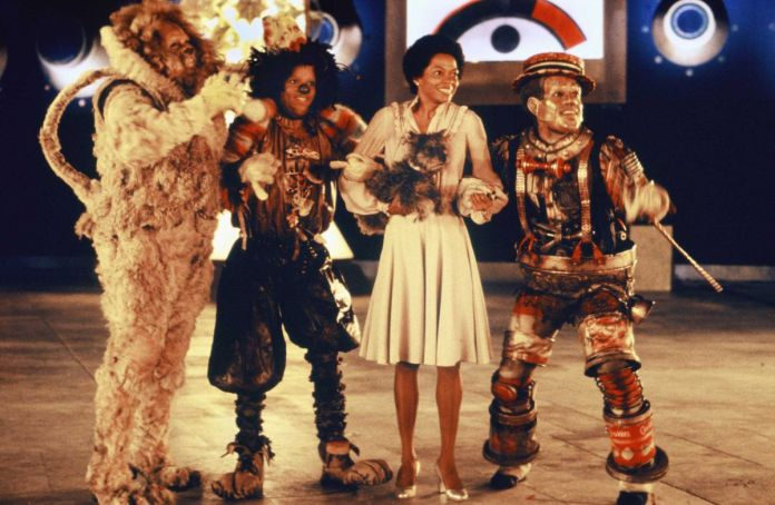 Ted Ross, Diana Ross, Michael Jackson, and Nipsey Russel in costume for The Wiz