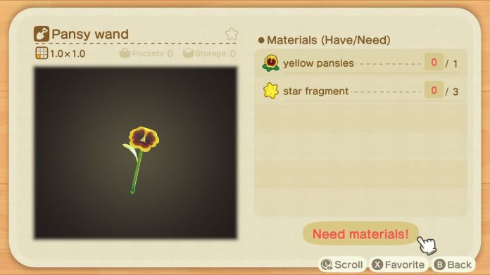 A recipe list for a Pansy Wand