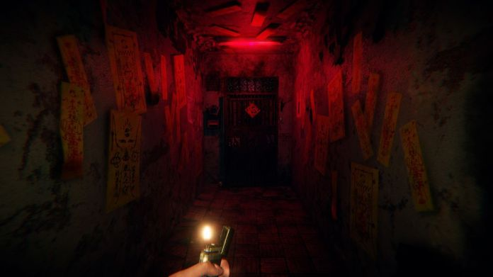 scary door in a dark hallway