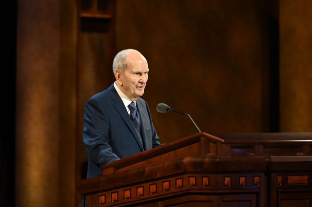 President Russell M. Nelson speaks during the Sunday morning session of The Church of Jesus Christ of Latter-day Saints'191st Annual General Conference on April 4, 2021. In the Sunday afternoon session, President Nelson announced plans to build 20 new temples, the most ever announced at one time.
