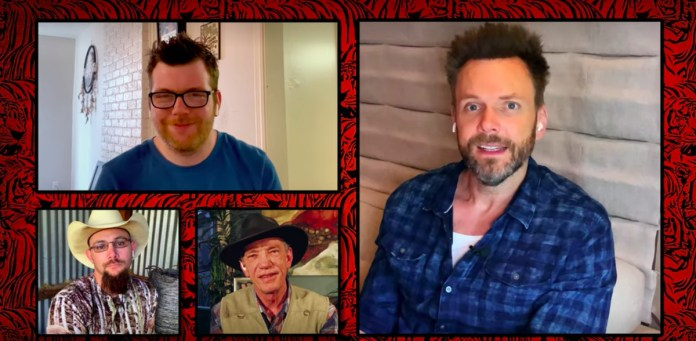 Host Joel McHale appears in a multi-head-shot video conferencing call with various Tiger King subjects in The Tiger King and I.