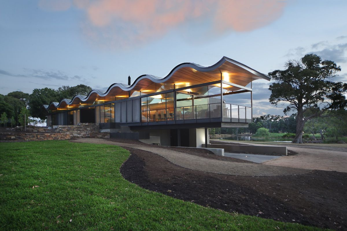 Modern glass house sports floating wavy roof - Curbed on Modern Glass Houses  id=40837