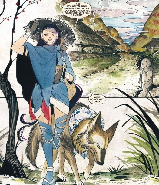 Edo period interpretations of Psylocke and Wolverine (she is a wandering warrior, he is a dog) in Demon Days: X-Men #1.