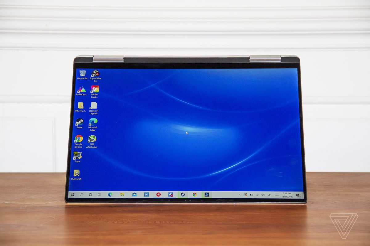 The Dell XPS 13 2-in-1 in tent mode.