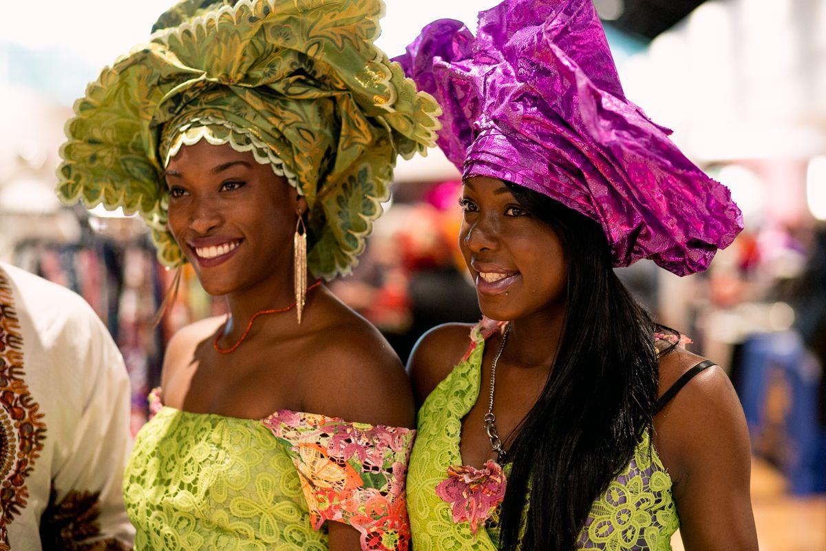 Two women in Nigerian geles