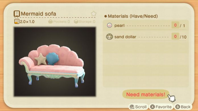 An Animal Crossing recipe for a Mermaid Sofa