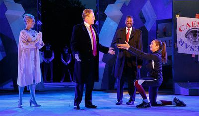 Tina Benko, Gregg Henry, Teagle F. Bougere, and Elizabeth Marvel in Shakespeare in the Park's Trump-inspired Julius Caesar
