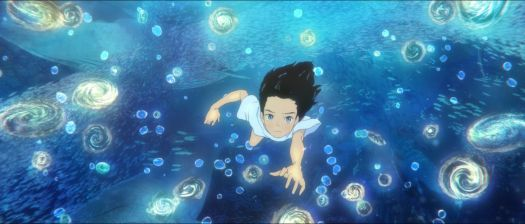 a girl swims in the sea