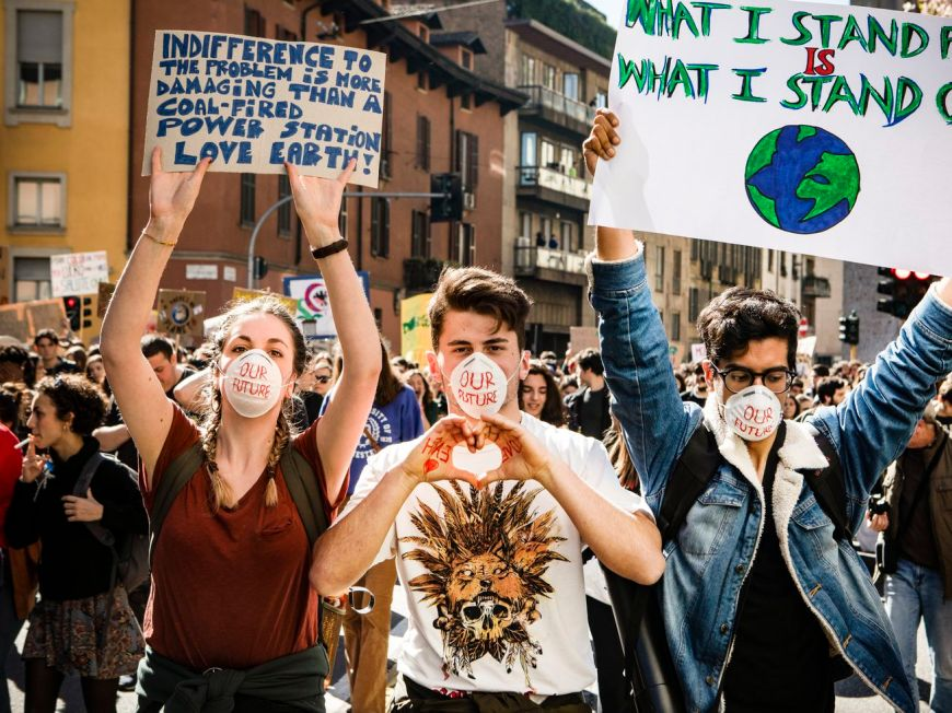 """Students in Milan, Italy, take part in the youth climate strike, also known as the """"Fridays for Future"""" movement, on March 15."""