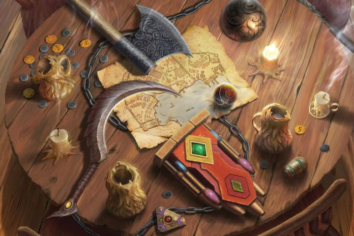 Coins, weapons, and magic items lie on a table in an inn. A map lays beneath them.