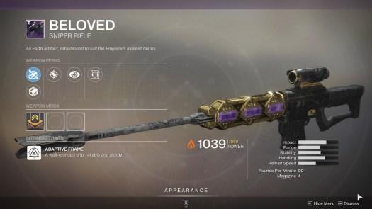 Destiny 2 Beloved sniper rifle