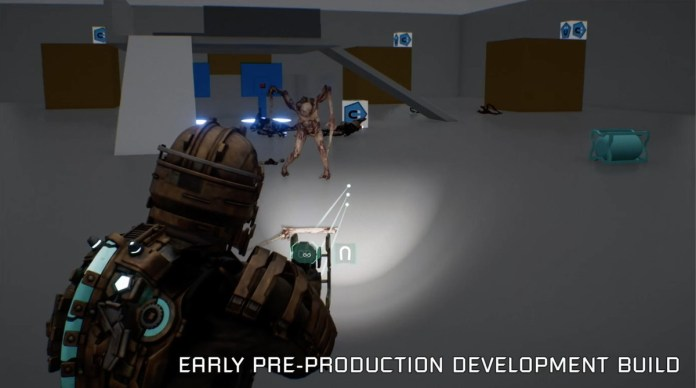 Early Dead Space remake footage of shooting a necromorph