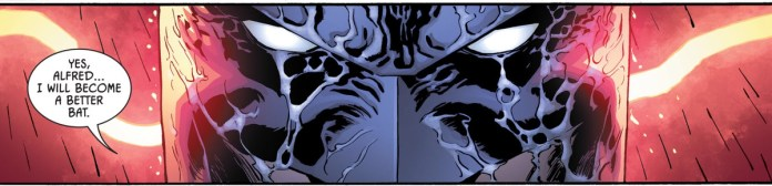 """A rain-covered Batman scowls at the viewer, saying """"Yes, Alfred... I will become a better bat."""" in Batman #94, DC Comics (2020)."""