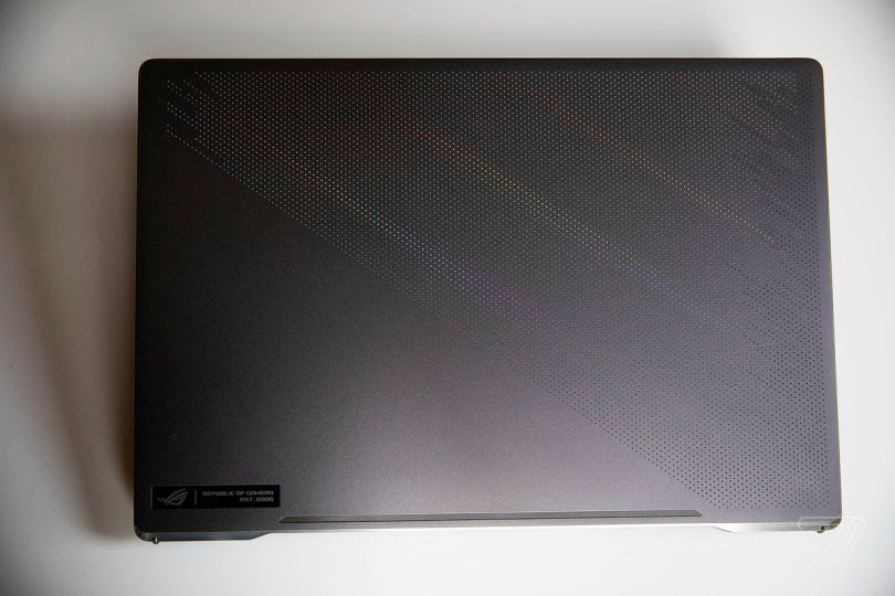 The Asus ROG Zephyrus G15 closed, seen from above.