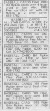 Baltimore Sun petites annonces de 1989, publicité des cartes de baseball.