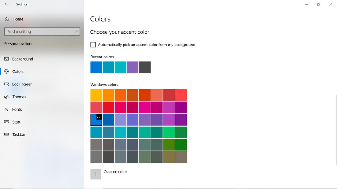 Accent color settings