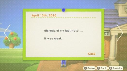 "Animal Crossing: New Horizons - a message board notice that reads ""disregard my last posting. it wes weak"""