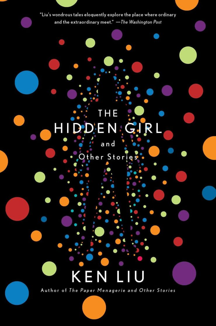 many colored balls floating on the body of a girl hidden by Ken liu