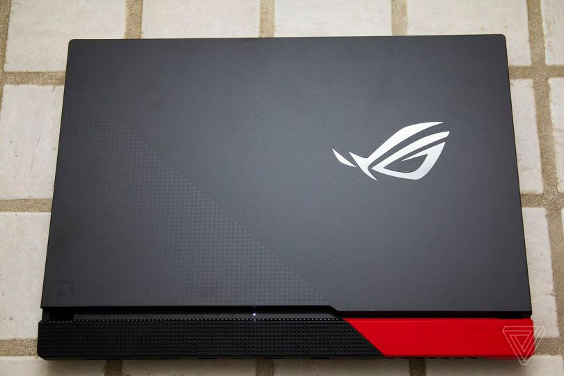 The Asus ROG Strix G15 closed, seen from above.