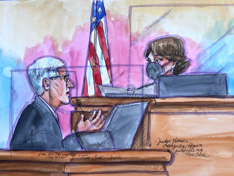 Tim Cook gestures evocatively towards Judge Yvonne Gonzales Rogers