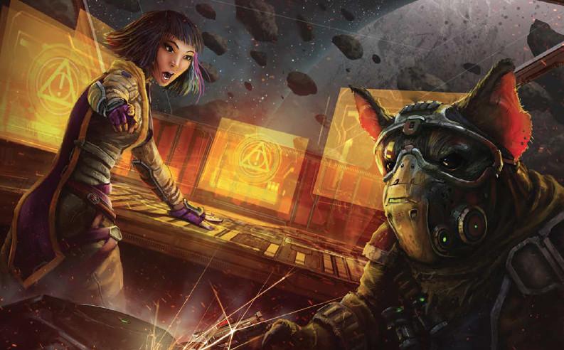 Un humanoïde ressemblant à un rat dans un masque respiratoire gère les systèmes d'armes dans un vaisseau spatial tandis qu'une femme aux cheveux violets aboie des ordres.